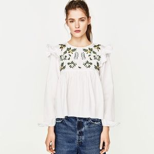 Zara Embroidered Floral Ruffle Blouse
